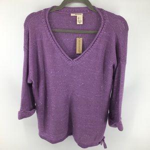 DKNY Jeans V Neck Lavender Sweater NWT